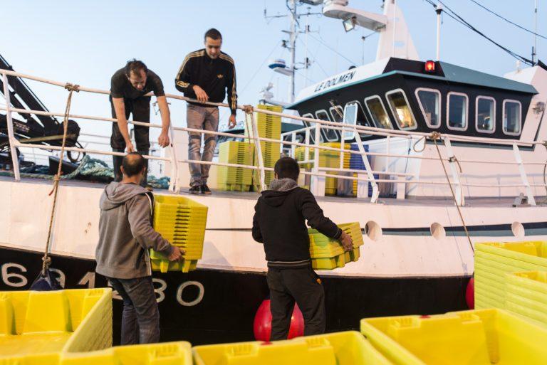 Pêcheurs portant des caisses sur leur bateau