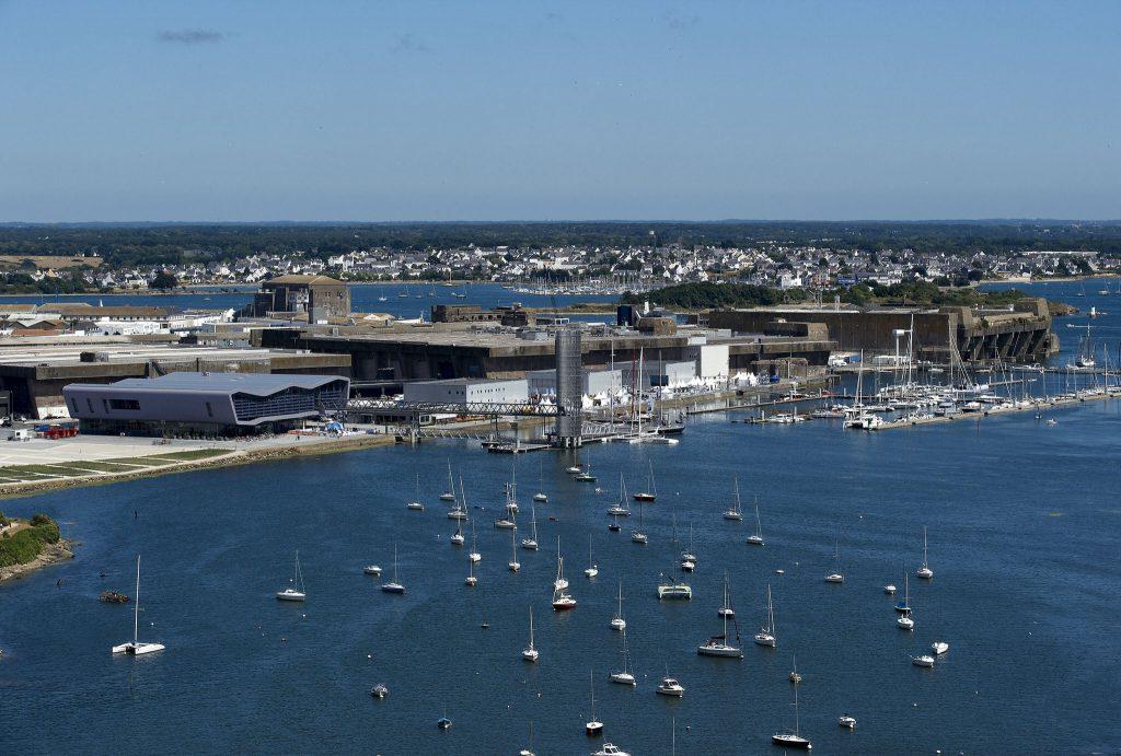 Lorient vue du ciel, site de la Base de sous-marins et de la Cité de la Voile Eric Tabarly