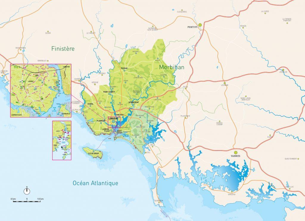 Carte de Lorient Bretagne Sud.