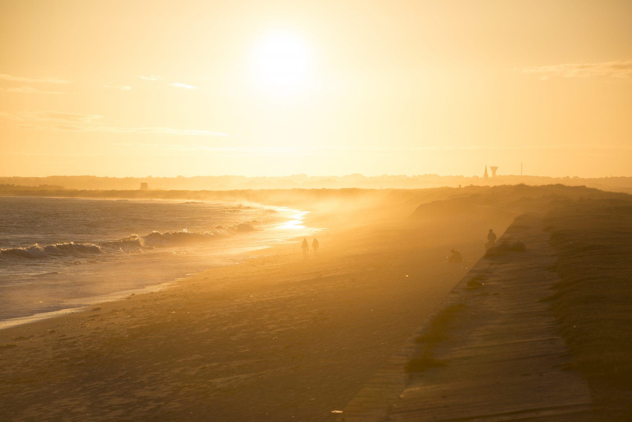 Gâvres, coucher de soleil sur la grand plage