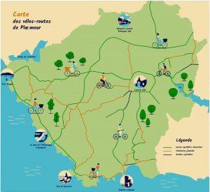 Carte des vélos-routes de Ploemeur