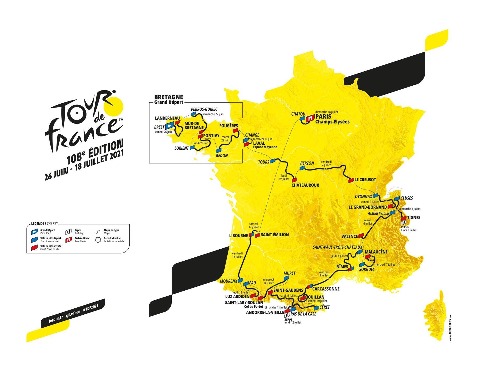 Carte - Parcours du Tour de France 2021