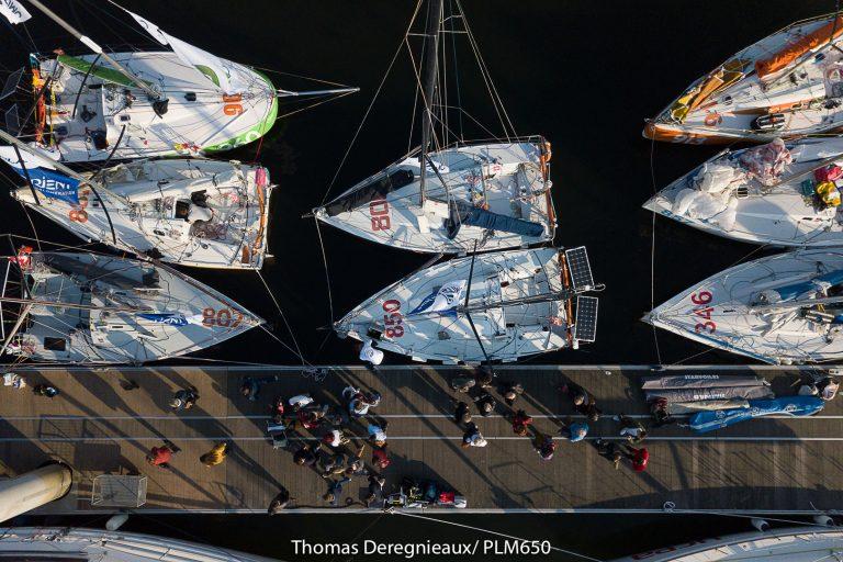 Lorient, voiliers vue de haut avant la course la Plastimo
