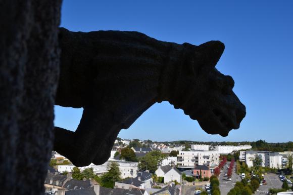 Gargouille sur la Basilique Notre Dame du Paradis avec vue sur la ville