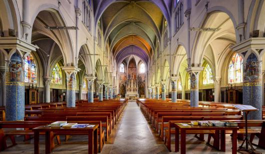 2048 ©Emmanuel LEMEE -Nef de l'église Sainte Radegonde à Riantec