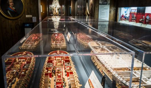 Maquettes de bateaux au Musée de la Compagnie des Indes à Port-Louis