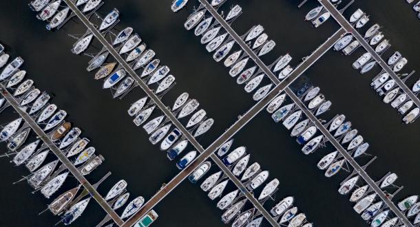 Vue aérienne du port de Kernevel, Larmor Plage