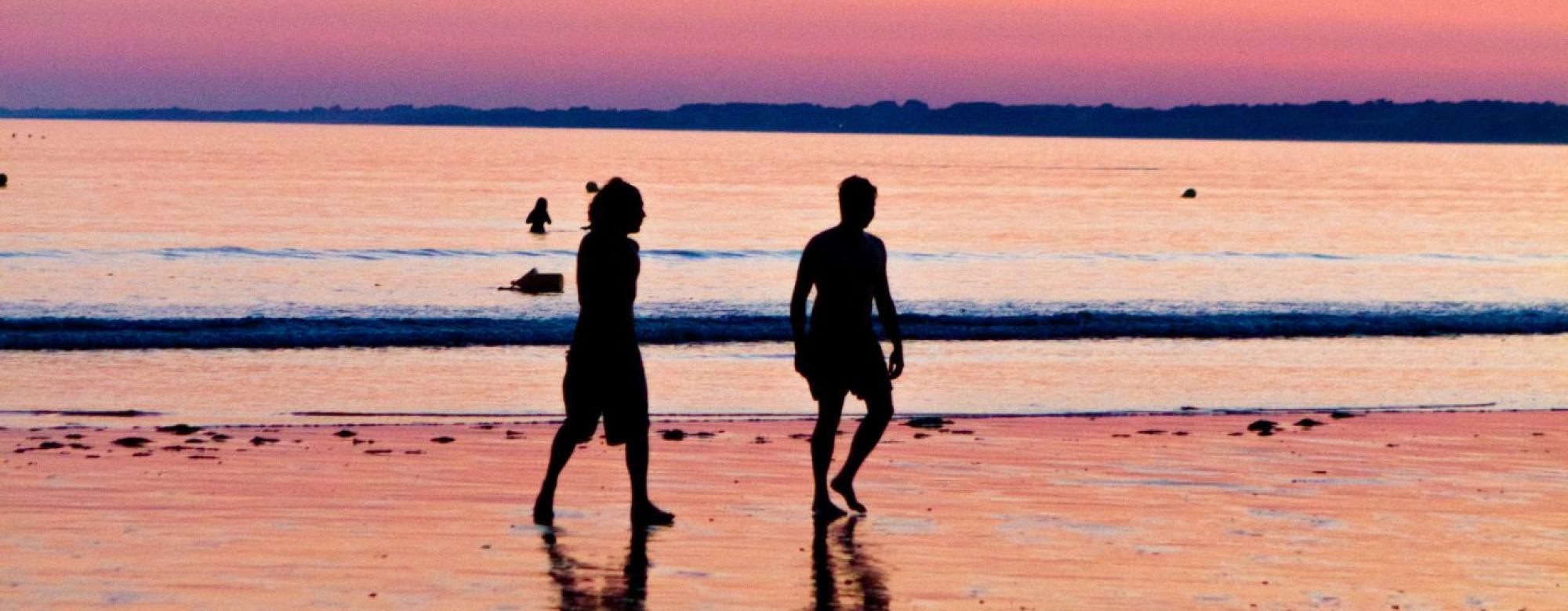 Coucher de soleil plage de Fort Bloqué, Ploemeur