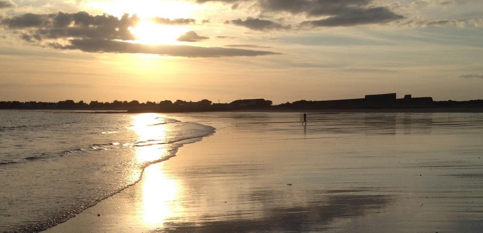 Coucher de soleil sur la grande plage de Gâvres