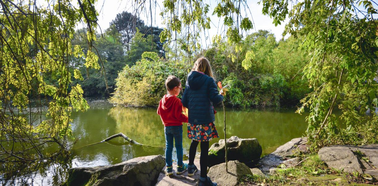 Enfants au bord de l'étang du parc du Plessis de Lanester