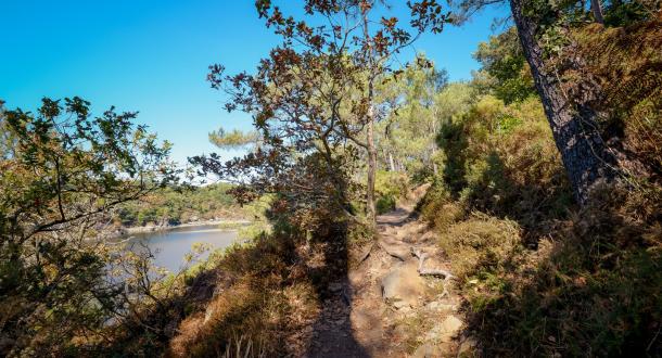 Guidel, chemin sur la Laïta vue sur rivière