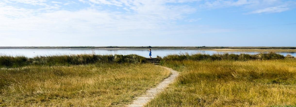 enfant balade à pied sur les sentier de la petite mer de Gâvres