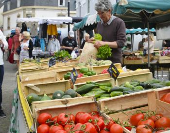 Etale de légumes sur le marché, Larmor Plage