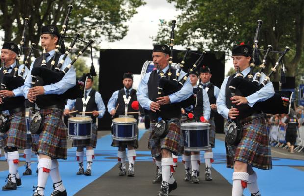 Lorient, musiciens pendant la grande parade du festival interceltique