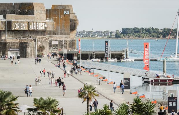 Lorient La base, le quai du pôle course au large.