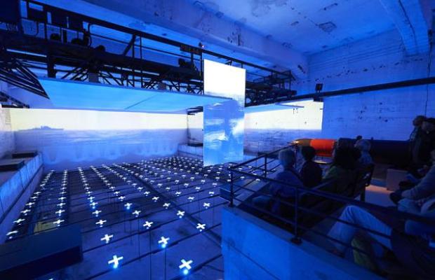 La salle de projection muséographie du sous-marin Flore à Lorient La Base