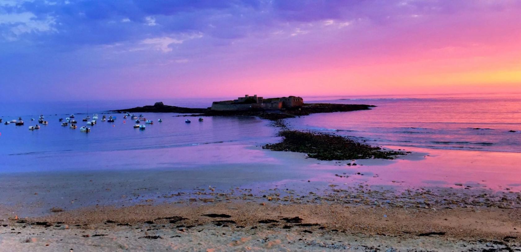 Ploemeur coucher de soleil sur le Fort-Bloqué